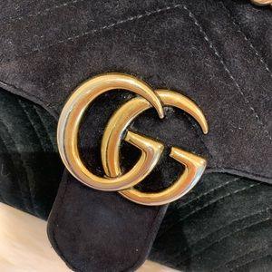 Gucci Bags - Gucci GG Marmont Black Velvet Mini Crossbody Bag